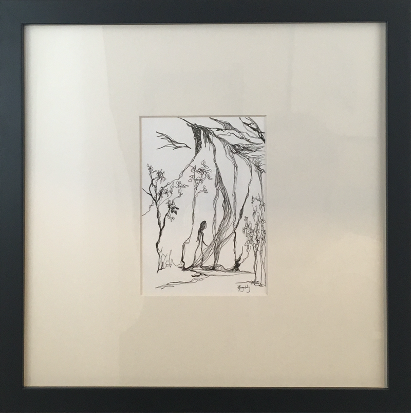 (CreativeWork) Desert Bound - Framed Original Published Archival Pigment Ink Drawing by Kylie Fogarty. drawing. Shop online at Bluethumb.