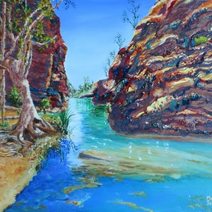 (CreativeWork) The Enticing Waters of Hamersley Gorge, WA by Monika Scheffler. mixed-media. Shop online at Bluethumb.