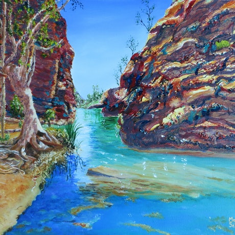 (CreativeWork) The Enticing Waters of Hamersley Gorge, WA by Monika Scheffler. Mixed Media. Shop online at Bluethumb.