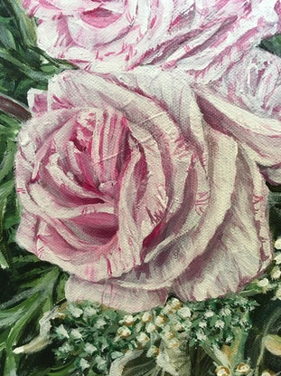 Overall size – 55 X 68.5 X 1.8 cm Signed , numbered at the back, comes with a certificate of authenticity. Ready To Hang. Original painting info : <br> A LIFE TIME COMMITMENT - Pink Roses and Anthuriums 61 X 76 X 1.5 cm April 20/2018 By HSIN LIN Metallic Gold paint are used in original painting. It shines beautifully when you look at the physical painting. <br> White Anthurium Flower has the meaning of innocence and Purity. As for pink roses stands for gentleness, appreciation and admiration, also is a classic symbol of grace and elegance <br> Do not give up, do not forget, and don't be afraid. Always remember, the future is in your hand. Love yourself, and love the people around you. -A LIFE TIME COMMITMENT - Pink Roses and Anthuriums <br> -Bloom like flowers series- by HSIN LIN <br> Artwork inspired by nature in Melbourne International Flower and Garden Show. Melbourne, Victoria, Autumn 2018 by Artist HSIN LIN. <br> Enjoy the time lapse video of this artwork please visit: https://www.youtube.com/watch?v=yygDGw2Ac9U&feature=youtu.be <br> Exhibition History- -27 April – 20 May 2018 Streeton Roberts McCubbin Awards Exhibition @ Sherbrooke Gallery - 1-30July 2018 Annual Members Exhibition Oak Hill Gallery -7th Oct - 4th Nov 2018 Allen & Peg Lowe Annual Award Exhibition @ The Hut Gallery -16th March- 15th April 2019 -Artist of The Month - Flowers and Girls series- Artworks Exhibited at Riot Art Knox Westfield -1st - 28th September 2019 - Bloom Like Flowers Solo Exhibition by HSIN LIN, Knox Immerse by Knox city council, Upper Ferntree Gully, Melbourne -10 Feb – 2 March 2020 -Artist of The Month -HSIN LIN, Riot Art Knox Westfield