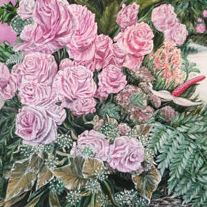 (CreativeWork) A LIFE TIME COMMITMENT - Pink Roses by HSIN LIN. arcylic-painting. Shop online at Bluethumb.
