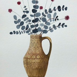 (CreativeWork) Pink Billy Button and Silver Dollar in Retro Vase by Sally Browne. watercolour. Shop online at Bluethumb.