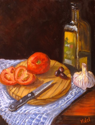 (CreativeWork) Still life - Healthy ingredients tomatoes, olive oil, olives, garlic by Christopher Vidal. Oil Paint. Shop online at Bluethumb.