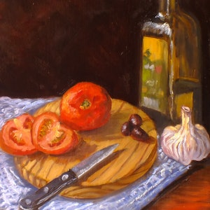 (CreativeWork) Still life - Healthy ingredients tomatoes, olive oil, olives, garlic by Christopher Vidal. oil-painting. Shop online at Bluethumb.
