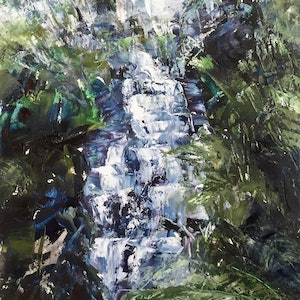 (CreativeWork) Triplet Falls by Tiffany Blaise. oil-painting. Shop online at Bluethumb.
