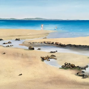 (CreativeWork) Little Cove, Noosa. by Meredith Howse. oil-painting. Shop online at Bluethumb.