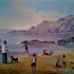 (CreativeWork) Day on the beach by Viv Gregory. oil-painting. Shop online at Bluethumb.