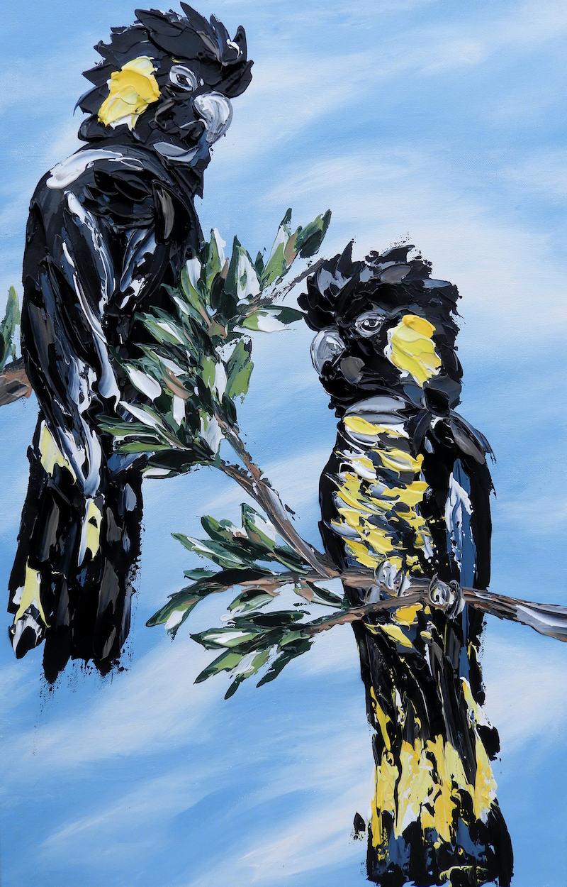 (CreativeWork) Black Cockatoos under a  blue sky by Lisa Fahey. arcylic-painting. Shop online at Bluethumb.