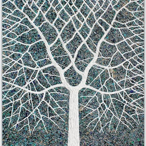 (CreativeWork) Tree - Stormy Tree Abstract vs 2 by Miranda Lloyd. mixed-media. Shop online at Bluethumb.