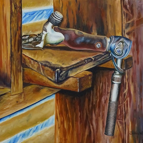 (CreativeWork) The Handpiece by Delma White. Oil Paint. Shop online at Bluethumb.