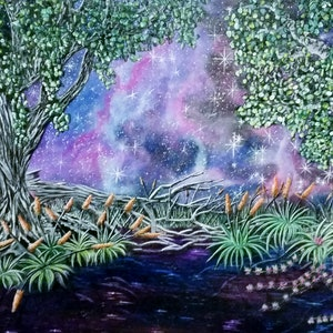 (CreativeWork) Amethyst Night by Donna Parker. arcylic-painting. Shop online at Bluethumb.