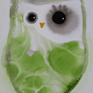 (CreativeWork) Green Owl 2 by Julie Sutherland. mixed-media. Shop online at Bluethumb.