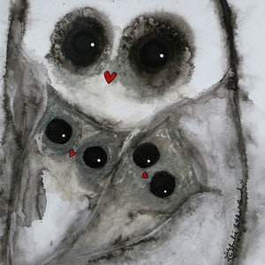 (CreativeWork) Mother Owl and her Twins by Julie Sutherland. mixed-media. Shop online at Bluethumb.