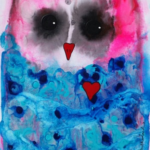 (CreativeWork) Multi Colour Owl  2  by Julie Sutherland. mixed-media. Shop online at Bluethumb.