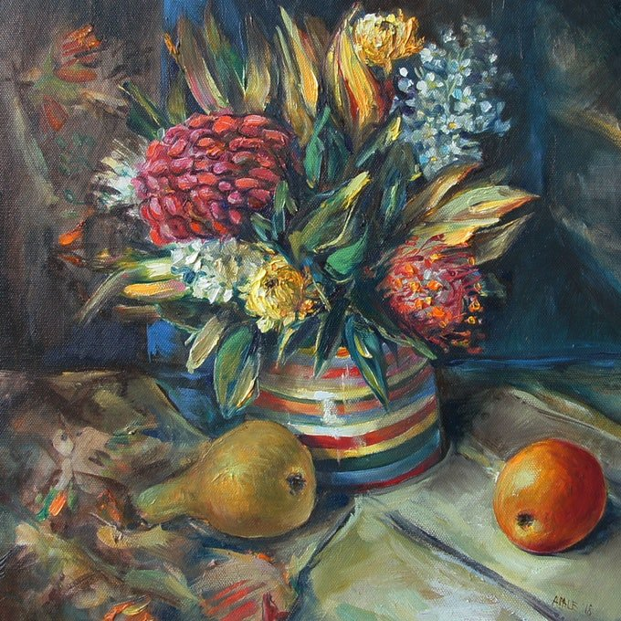 (CreativeWork) Still Life with Waratah by Katerina Apale. oil-painting. Shop online at Bluethumb.