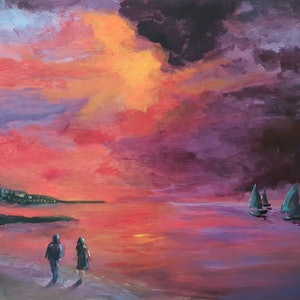 (CreativeWork) Sunset Sails by Jenny Moynahan. acrylic-painting. Shop online at Bluethumb.