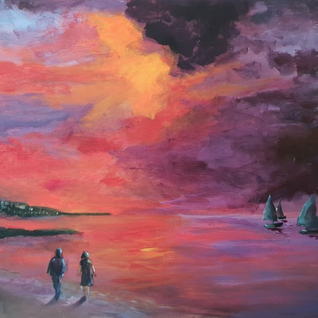 (CreativeWork) Sunset Sails by Jenny Moynahan. Acrylic Paint. Shop online at Bluethumb.