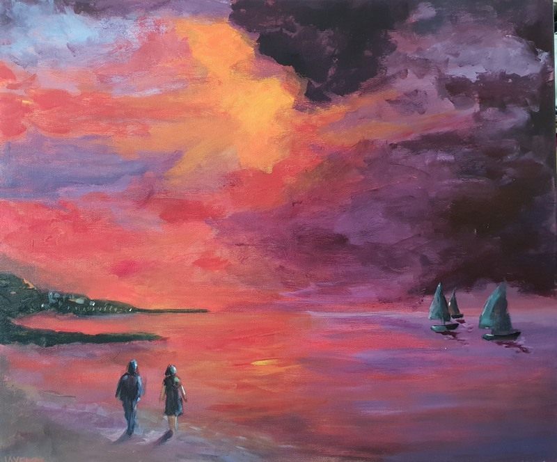 (CreativeWork) Sunset Sails by Jenny Moynahan. arcylic-painting. Shop online at Bluethumb.