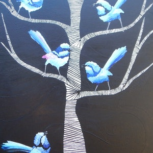 (CreativeWork) What Are You Chirping About by Kerry T. mixed-media. Shop online at Bluethumb.