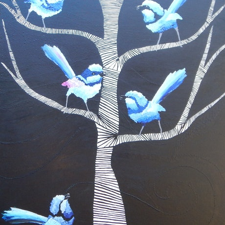 (CreativeWork) What Are You Chirping About by Kerry T. Mixed Media. Shop online at Bluethumb.