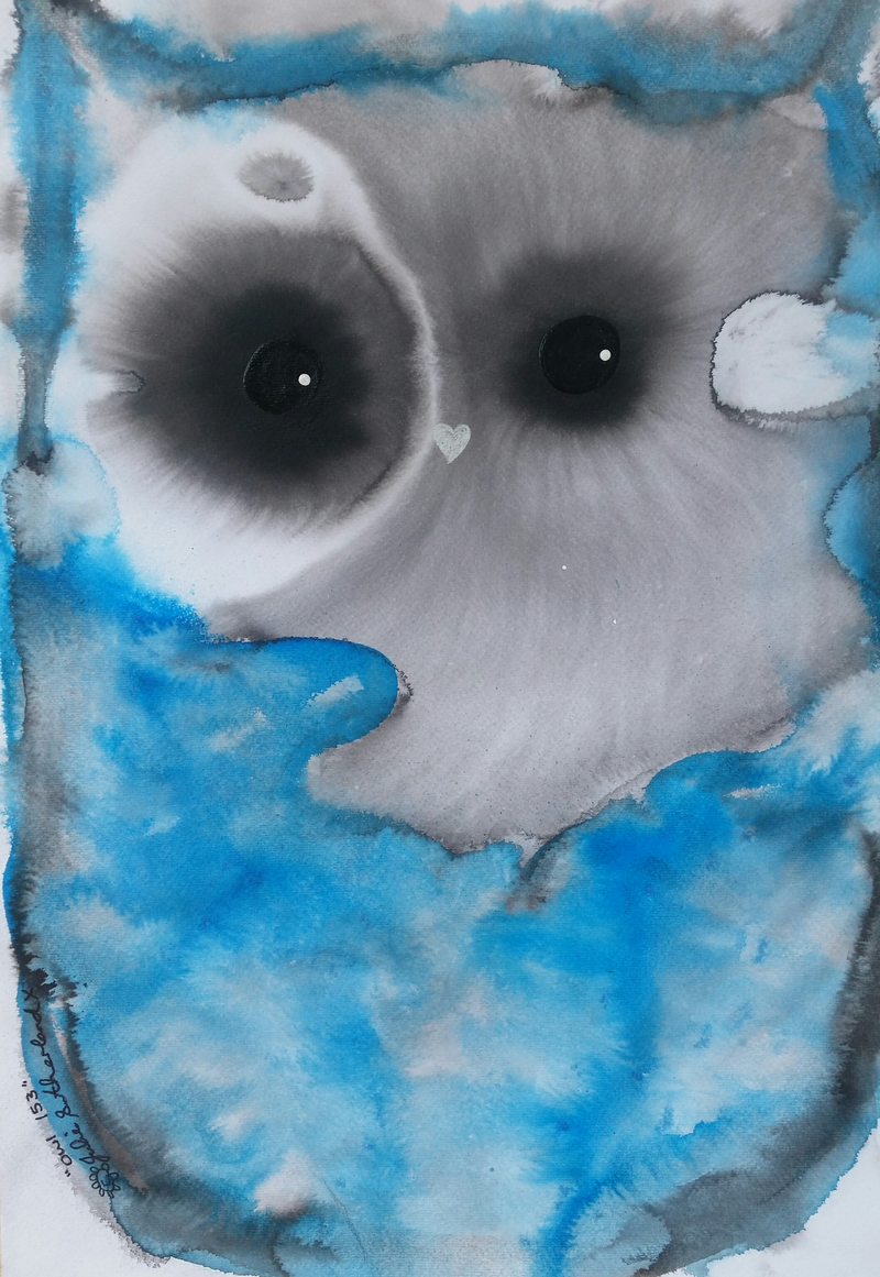 (CreativeWork) Blue Owl 153 by Julie Sutherland. mixed-media. Shop online at Bluethumb.