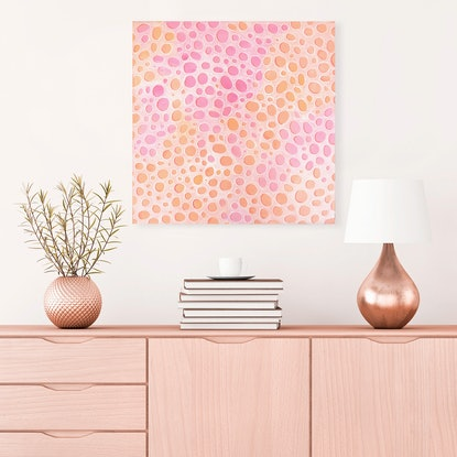 (CreativeWork) Coral Form - pink abstract painting coral patterns by Jennifer Bell. #<Filter:0x00007fc1a8a821b0>. Shop online at Bluethumb.