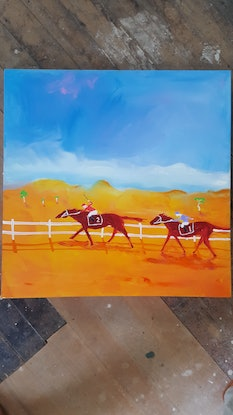 (CreativeWork) The Outback Cup by Little Heath. Oil Paint. Shop online at Bluethumb.