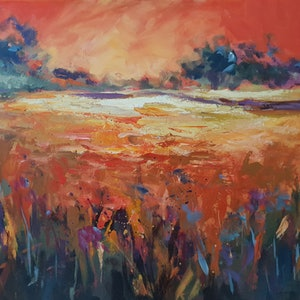 (CreativeWork) Sunburnt Fields by Jenny Moynahan. arcylic-painting. Shop online at Bluethumb.
