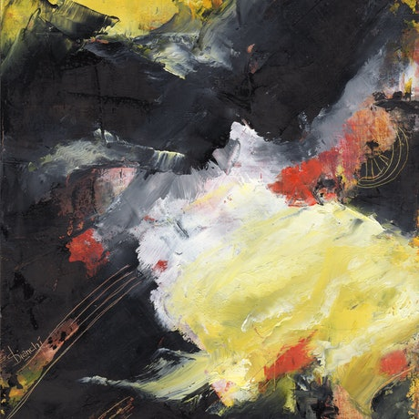 (CreativeWork) SMALL ARTWORK - Yellow Cloud by Susanne Bianchi. Oil Paint. Shop online at Bluethumb.