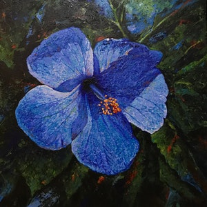(CreativeWork) Blue flower  by Mahdi Asadi. arcylic-painting. Shop online at Bluethumb.
