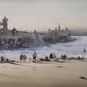(CreativeWork) geelong beach by jianqiang xu. watercolour. Shop online at Bluethumb.