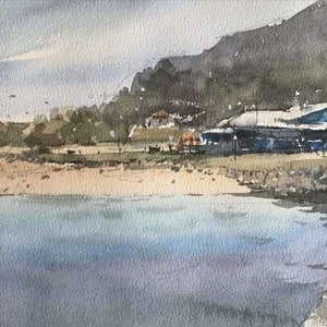 (CreativeWork) anglesea beach by jianqiang xu. watercolour. Shop online at Bluethumb.