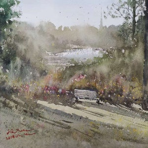 (CreativeWork) royal botanic gardens by jianqiang xu. watercolour. Shop online at Bluethumb.