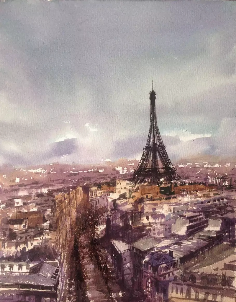 (CreativeWork) Paris by jianqiang xu. watercolour. Shop online at Bluethumb.