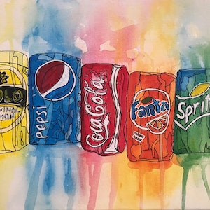 (CreativeWork) Abstract Soft Drinks CZ18047 by Carol Zsolt. arcylic-painting. Shop online at Bluethumb.