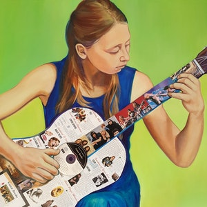 (CreativeWork) Twice Played Guitar  by Sherry McCourt. mixed-media. Shop online at Bluethumb.