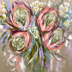 (CreativeWork) Australian paper daisy and protea  by Amanda Brooks. arcylic-painting. Shop online at Bluethumb.