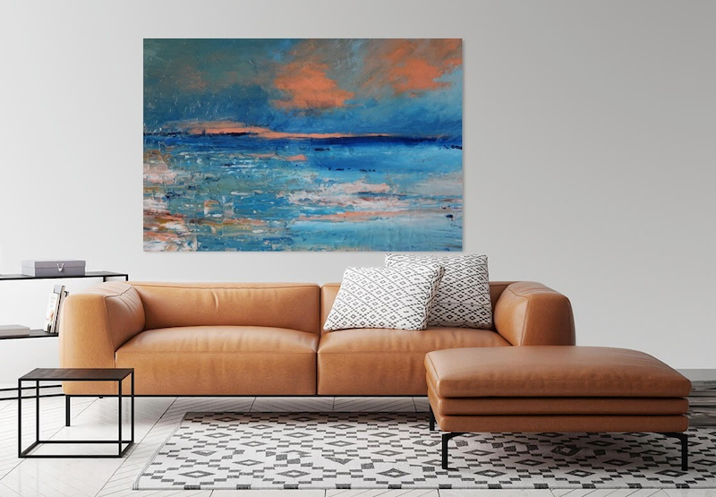 (CreativeWork) Brillant orange/pink sky by the sea by Maria Cross. oil-painting. Shop online at Bluethumb.
