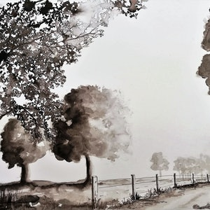 (CreativeWork) Country Feelings by Lucinda Leveille. watercolour. Shop online at Bluethumb.