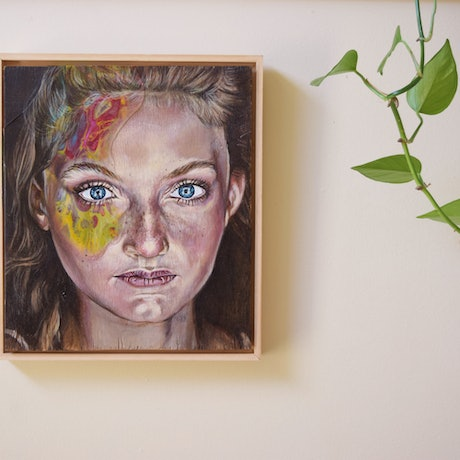 (CreativeWork) 'Youth' Portrait on wood (Framed) by Carli Wilson. Acrylic Paint. Shop online at Bluethumb.