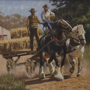 (CreativeWork) The Old Hay Wagon by Craig Taylor. oil-painting. Shop online at Bluethumb.