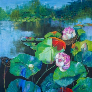 (CreativeWork) Lotus Garden by Rosa d'Argent. arcylic-painting. Shop online at Bluethumb.