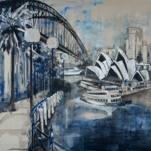 (CreativeWork) Sydney  Bridge to the Opera by Rosa d'Argent. arcylic-painting. Shop online at Bluethumb.