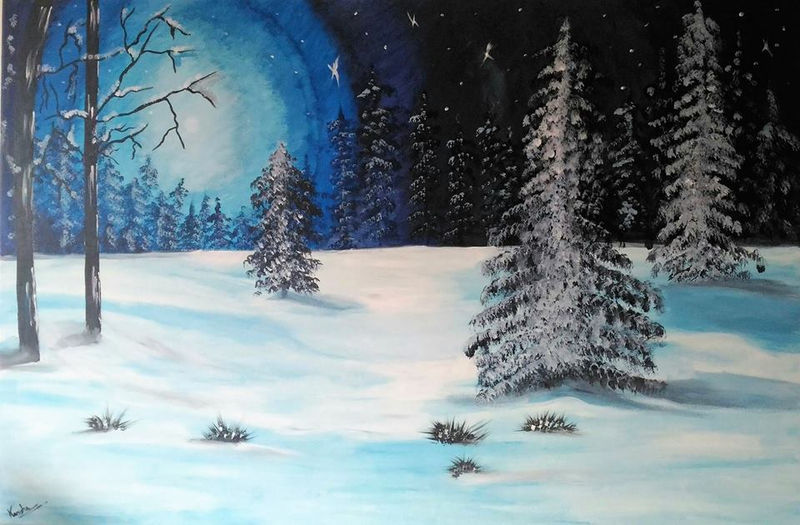 (CreativeWork) Winter night by kanisha patel. arcylic-painting. Shop online at Bluethumb.