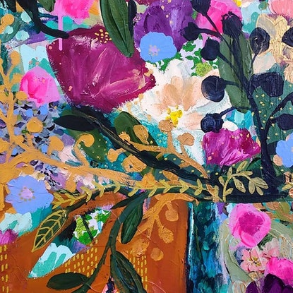 (CreativeWork) Bowl of Flowers by Sandra Oost. Mixed Media. Shop online at Bluethumb.