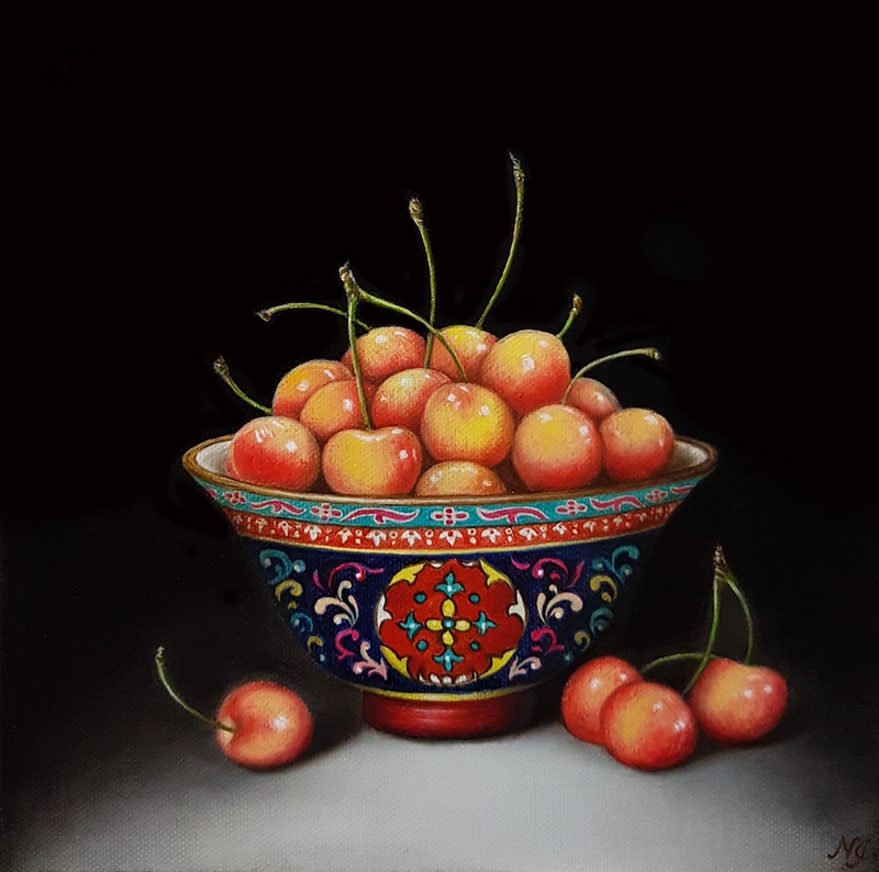 (CreativeWork) White Cherries in Thai Benjarong bowl - Still life oil painting by Natasha Junmanee. oil-painting. Shop online at Bluethumb.