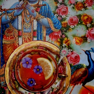 (CreativeWork) Krishna and Roses by paul mcknight. oil-painting. Shop online at Bluethumb.