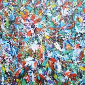 (CreativeWork) Riches of the Rainforest by Terina Jones. arcylic-painting. Shop online at Bluethumb.