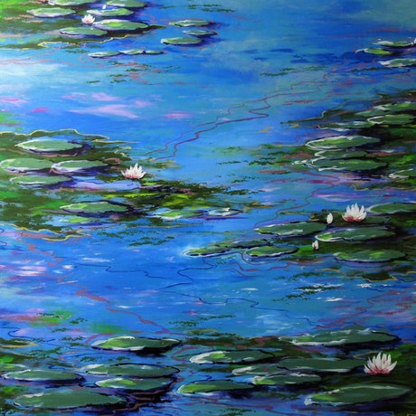 (CreativeWork) Monet Inspiration 3 by Sally Ford. Acrylic Paint. Shop online at Bluethumb.