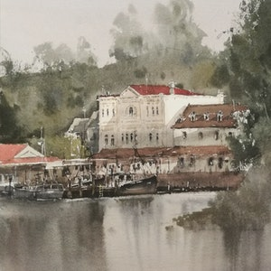 (CreativeWork) by the lake by jianqiang xu. watercolour. Shop online at Bluethumb.